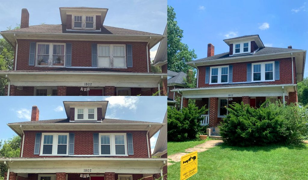 Before and after picture of upper floor windows replaced on a brick house in Roanoke