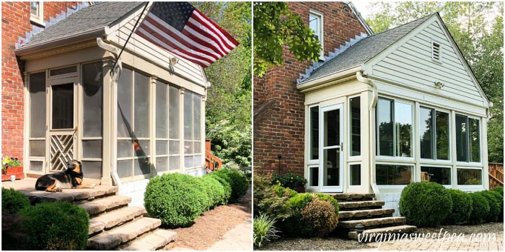 Before and after picture of screend porch converted to a sunroom